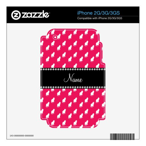 Personalized name pink cat pattern skin for iPhone 3