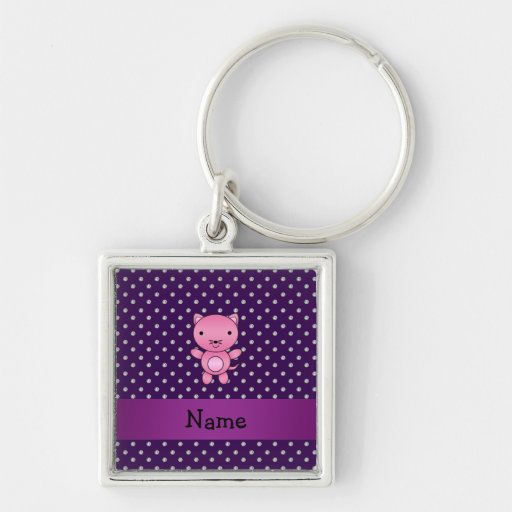 Personalized name pink cat purple diamonds Silver-Colored square keychain