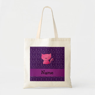 Personalized name pink cat purple stars budget tote bag