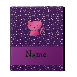 Personalized name pink cat purple stars iPad case