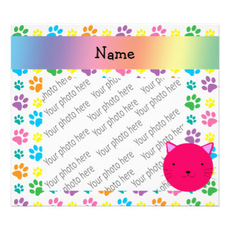Personalized name pink cat rainbow paws photo print