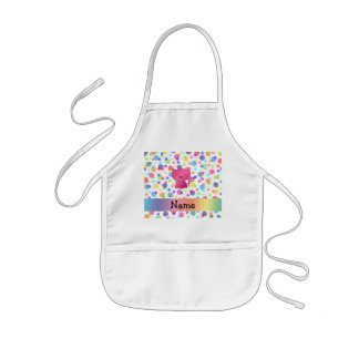 Personalized name pink cat rainbow polka dots kids' apron
