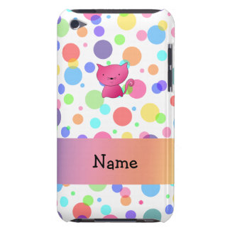 Personalized name pink cat rainbow polka dots iPod touch Case-Mate case