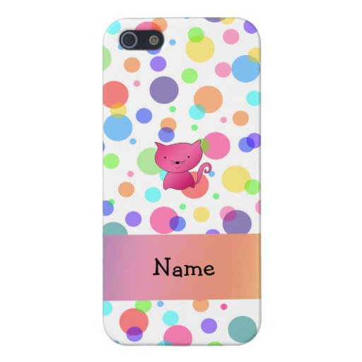 Personalized name pink cat rainbow polka dots iPhone 5 cases