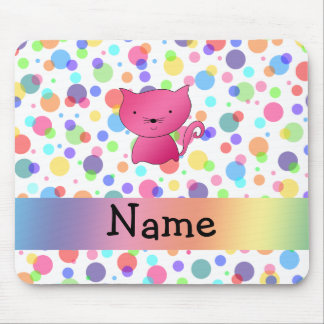 Personalized name pink cat rainbow polka dots mouse pads
