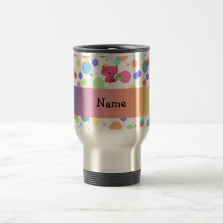 Personalized name pink cat rainbow polka dots 15 oz stainless steel travel mug