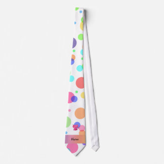 Personalized name pink cat rainbow polka dots tie