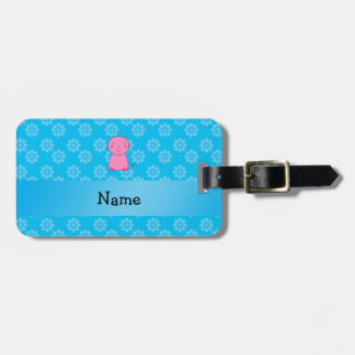 Personalized name pink cat sky blue flowers travel bag tags
