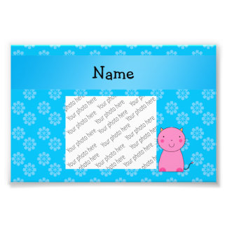 Personalized name pink cat sky blue flowers photographic print