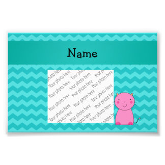 Personalized name pink cat turquoise chevrons photo print
