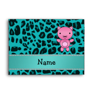Personalized name pink cat turquoise leopard envelopes