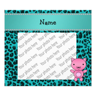Personalized name pink cat turquoise leopard art photo