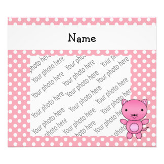 Personalized name pink cat white polka dots photo