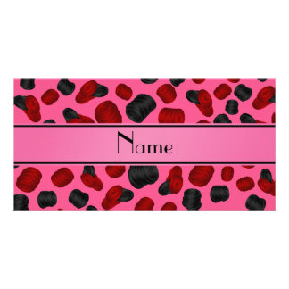 Personalized name pink checkers game photo card