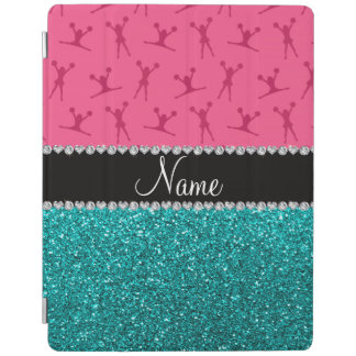 Personalized name pink cheerleader aqua glitter iPad smart cover
