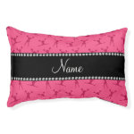 Personalized name pink cheerleader pattern small dog bed