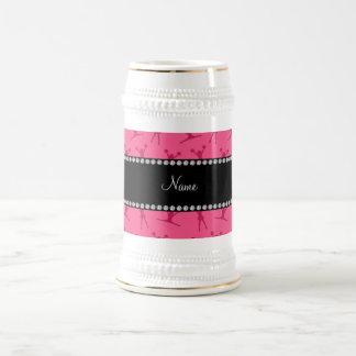 Personalized name pink cheerleader pattern coffee mugs