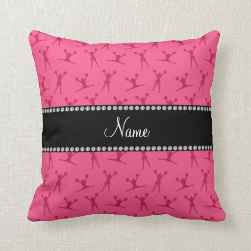 Personalized name pink cheerleader pattern pillow