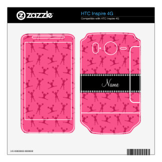 Personalized name pink cheerleader pattern HTC inspire 4G decal