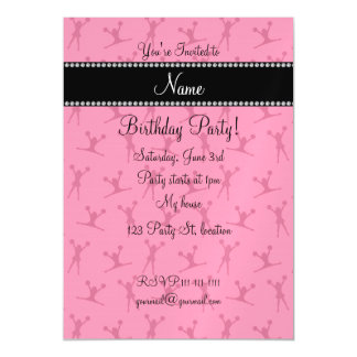 Personalized name pink cheerleader pattern magnetic invitations