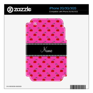 Personalized name pink cherry pattern iPhone 3GS decal
