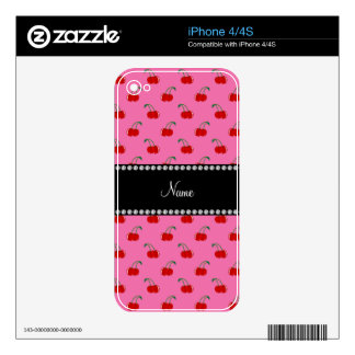 Personalized name pink cherry pattern iPhone 4S skins