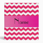 Personalized name pink chevrons 3 ring binders