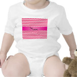 Personalized name pink chevrons baby creeper