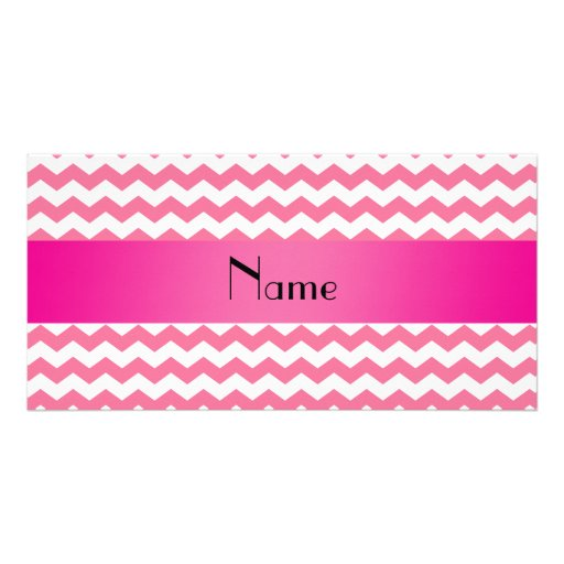 Personalized name pink chevrons custom photo card
