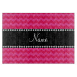 Personalized name pink chevrons cutting board