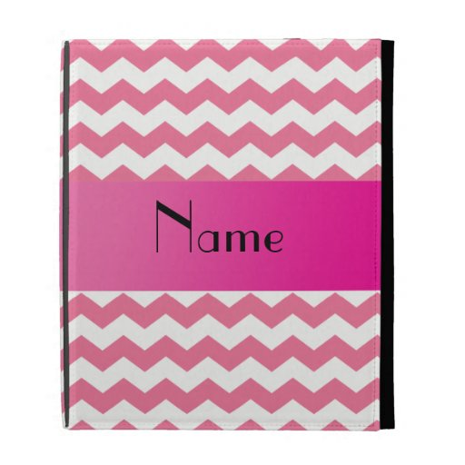 Personalized name pink chevrons iPad folio cover