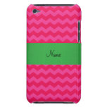 Personalized name pink chevrons iPod touch case