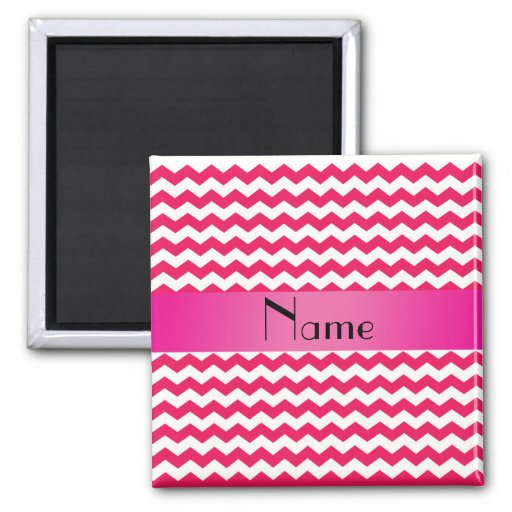 Personalized name pink chevrons magnets