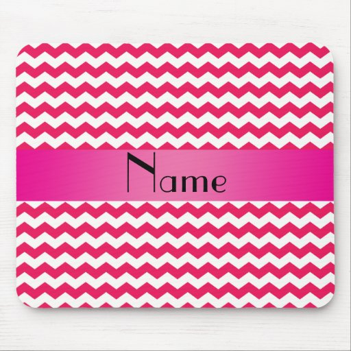 Personalized name pink chevrons mousepad