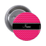Personalized name pink chevrons pinback buttons