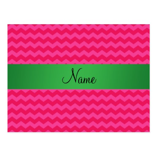 Personalized name pink chevrons postcard