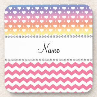 Personalized name pink chevrons rainbow hearts drink coaster
