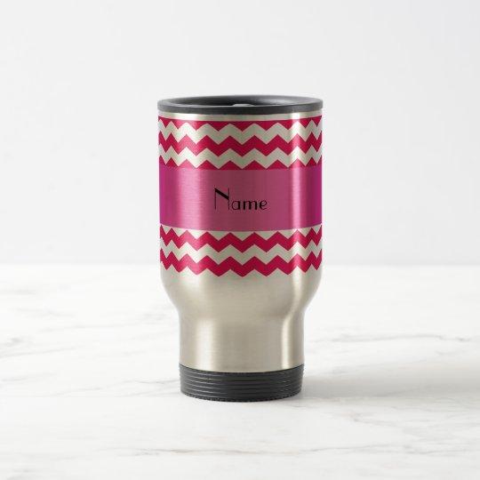 Personalized name pink chevrons travel mug