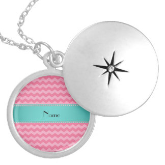 Personalized name pink chevrons turquoise stripe round locket necklace