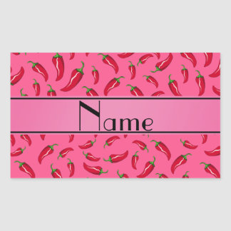 Personalized name pink chili pepper rectangle sticker