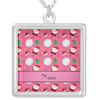 Personalized name pink christmas golfing personalized necklace