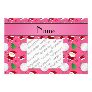 Personalized name pink christmas golfing photo