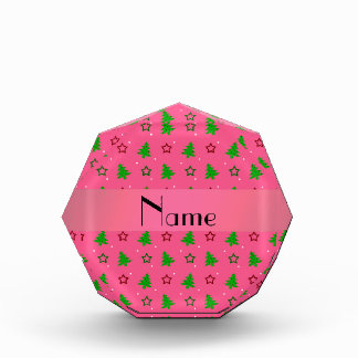 Personalized name pink christmas stars pattern award
