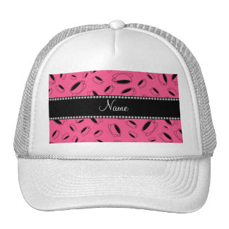 Personalized name pink coffee cup trucker hat