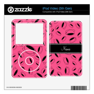 Personalized name pink coffee cup skin for the iPod video