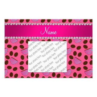 Personalized name pink coffee cups beans photo print