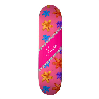 Personalized name pink colorful lily flowers skate boards