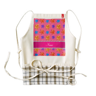 Personalized name pink colorful lily flowers zazzle HEART apron