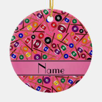 Personalized name pink colorful pool pattern ceramic ornament