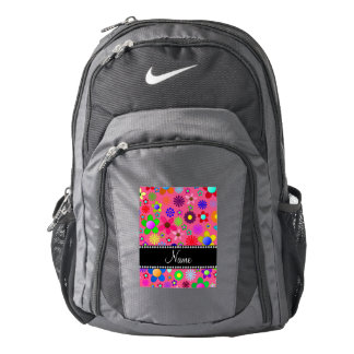 Personalized name pink colorful retro flowers backpack